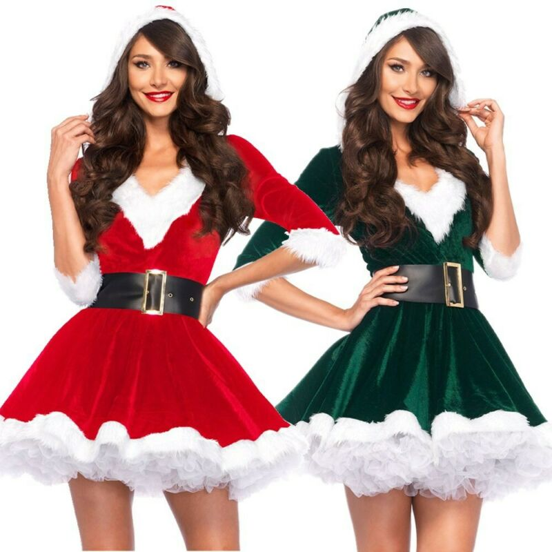 Fashion Women Half Sleeve Solid Popular Ladies Santa Claus Xmas Costume Cosplay Outfit Waistbelt Fancy Christmas Mini Dress