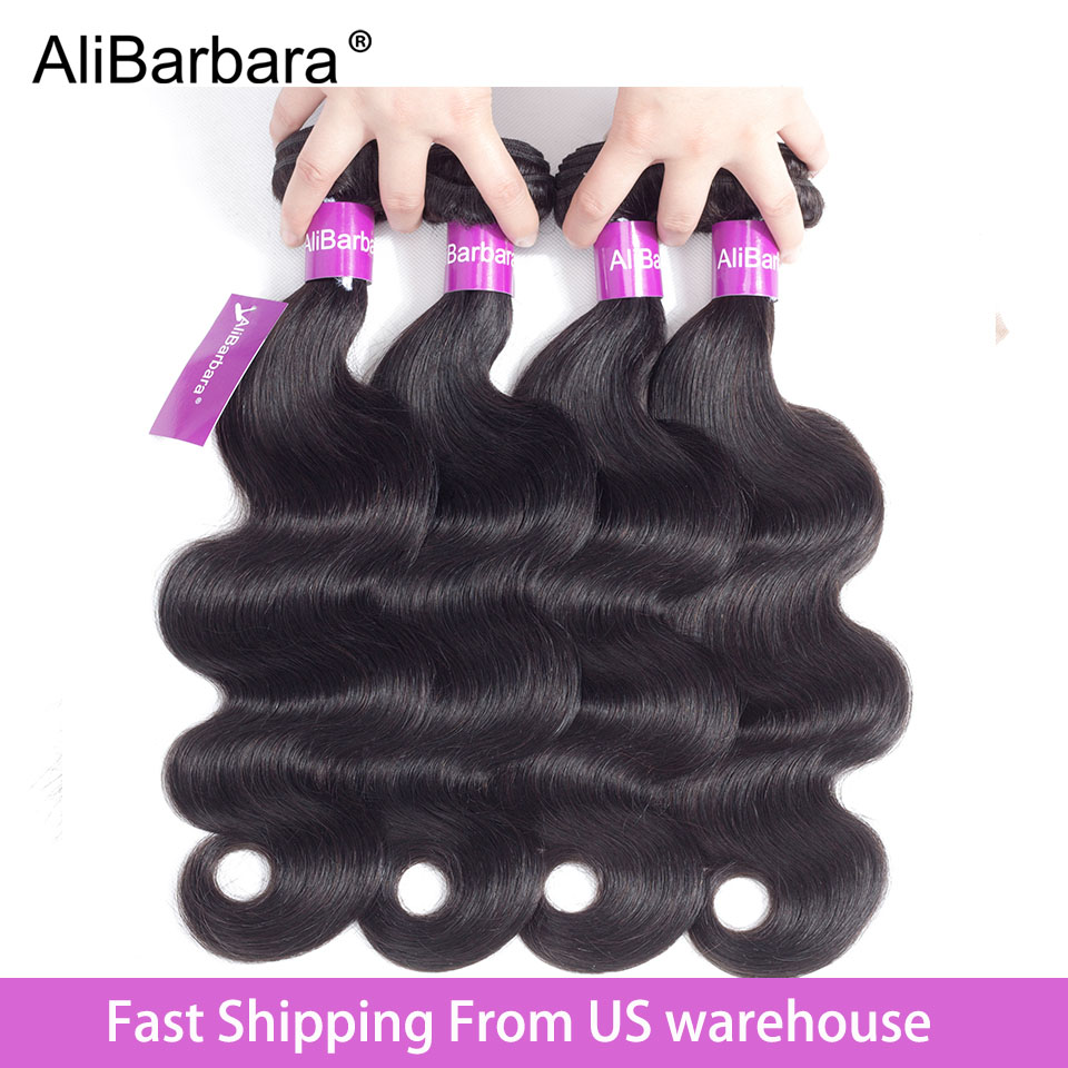 AliBarbara Peruvian Body Wave Hair Bundles 100% Human Hair Weaves Extension Natural Color 8-28inch Non Remy Hair Weaving Bundles