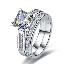 TRS102 lujo calidad 2 quilates princesa corte mejor calidad NSCD sintético gema anillo de compromiso conjunto para mujeres, conjunto de boda, conjunto de novia
