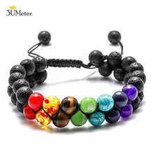 Bead Chakra Bracelet 7 Chakras Lava Rock Stone Healing Yoga Beads Bracelets Meditation Bangle for Womens Mens
