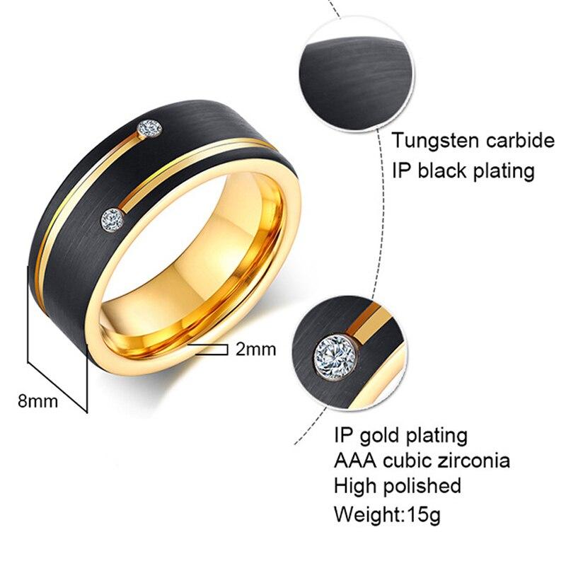 Bague en carbure de tungstène couleur or noir 100% pour hommes femmes alliance anniversaire incrusté brillant Zircon pierre anneaux bijoux - 3