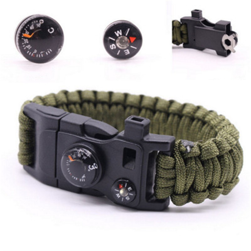 15 In 1 Paracord Survival Bracelet Multi-function Military Emergency Camping Rescue  Bracelets Escape Tactics Wrist Strap