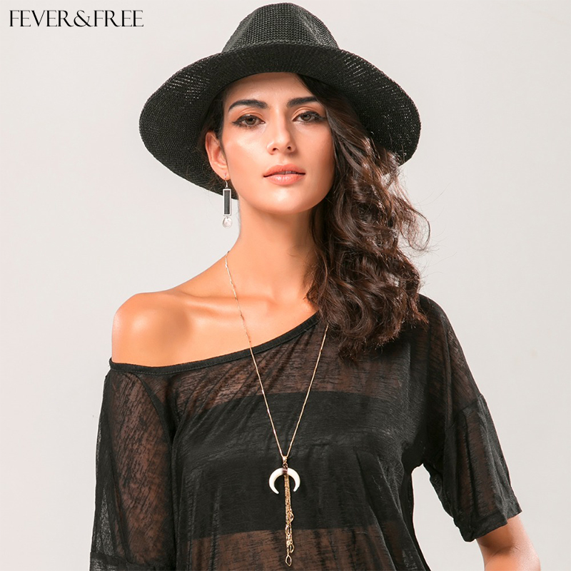 Fever Free Collares Largos Mujer 2019 Ethnic Crescent Long Necklace White Horn Vintage Tassel Pendants Necklace Colares Feminino in Pendant Necklaces from Jewelry Accessories