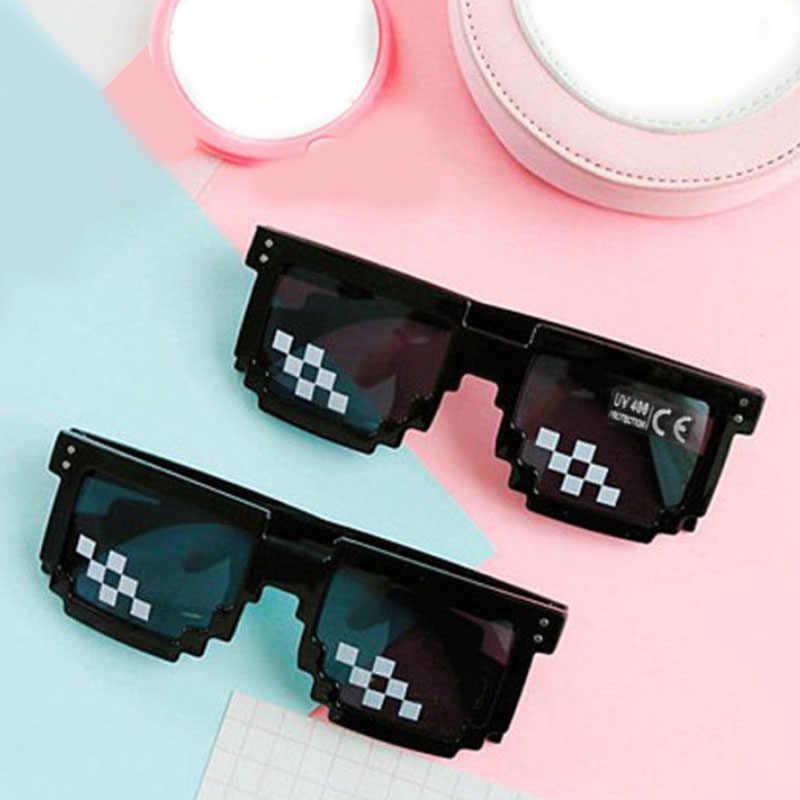 موضة كول الأسود للجنسين النظارات صفقة النظارات 1 قطعة جديد معها البلطجة الحياة النظارات الشمسية الرجال 8 بت بكسل
