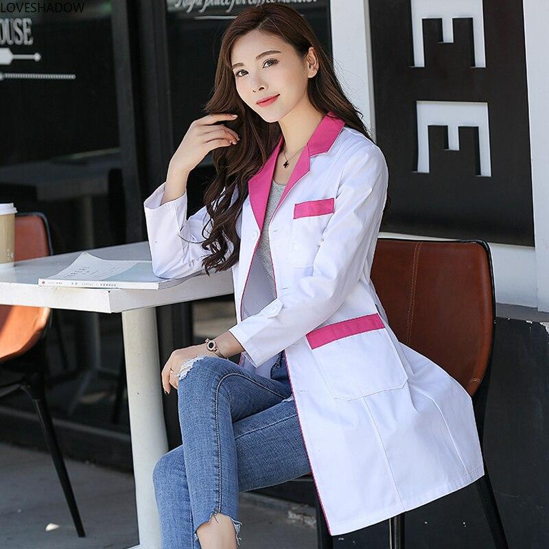 Women's Lab Coat Medical Uniform Long Sleeves Jacket Notched Collar Nurse Dress Doctor Scrubs Short Sleeve White Coat