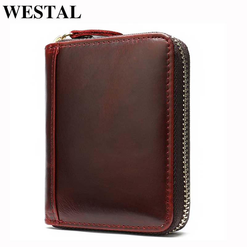 WESTAL Busines Card Holder Wallet With Coin Pockets Bank Credit Card Case ID Holders Cardholder Male Coin Purse Men Wallet