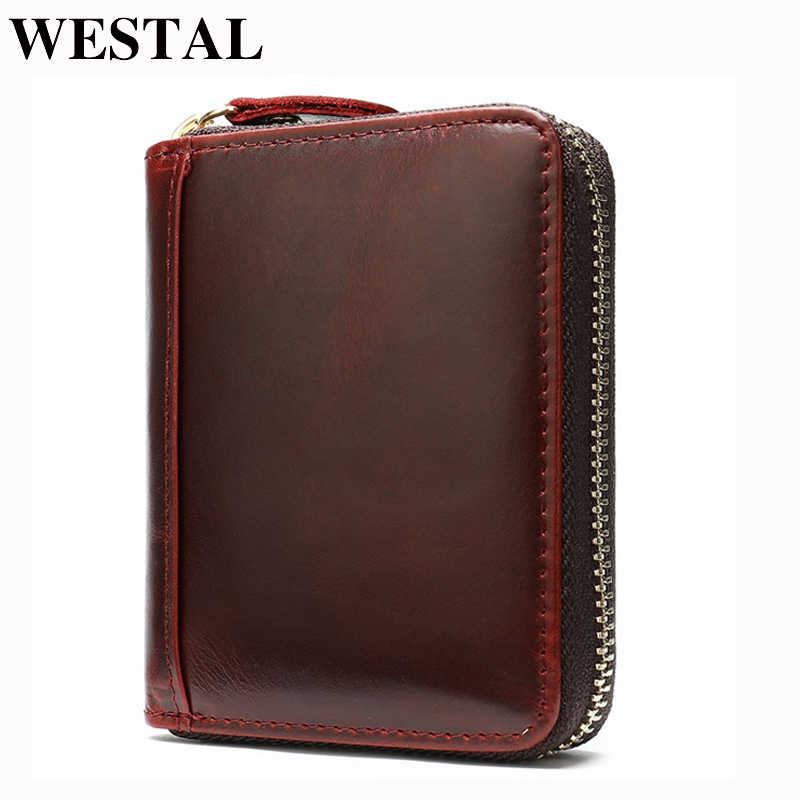 WESTAL Busines portefeuille porte-cartes avec poches pour pièces de monnaie carte de crédit bancaire porte-cartes porte-monnaie homme porte-monnaie