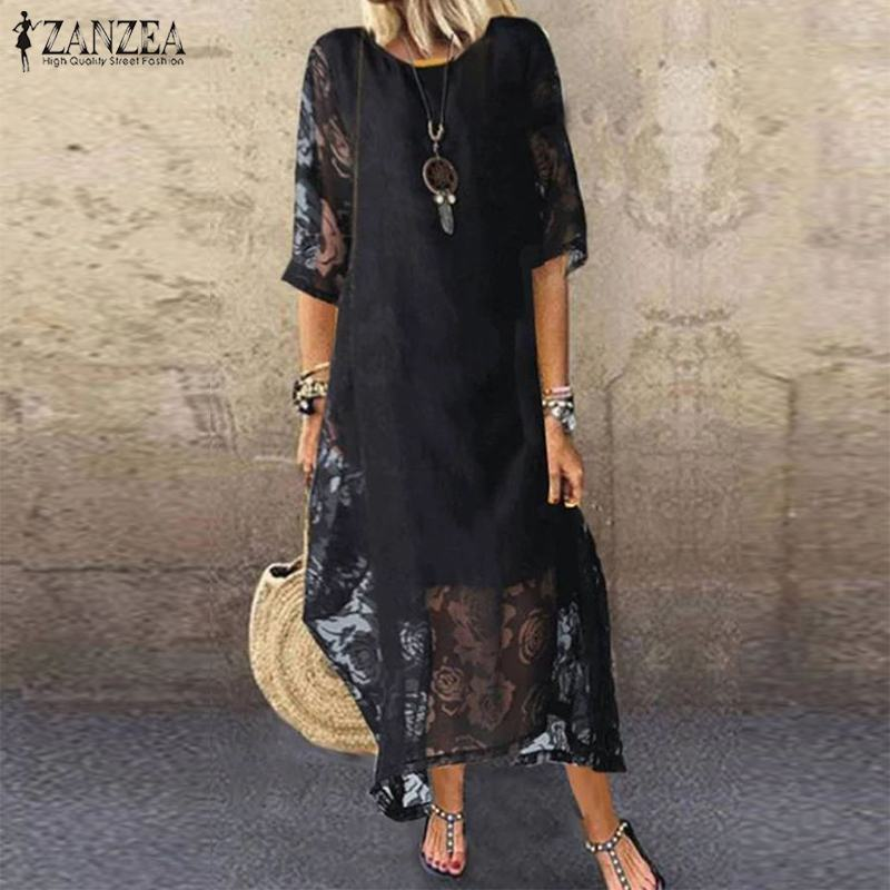 Elegant 3/4 Sleeve Midi Vestidos Women's Summer Sundress 2020 ZANZEA Bohemian Lace Dress Female O Neck Floral Robe Oversized 5XL