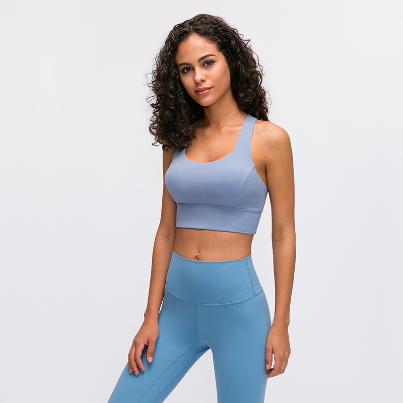 Naked-feel Strappy Sports Bra For Women Longline Medium Support Yoga Bra Top Padded Fitness Crop Top