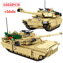 1052 pièces ville WW2 arme militaire M1A2 char modèle blocs de construction créateur technique Chariot armée Figures briques jouets pour les enfants