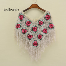 New autumn winter women Poncho cape handmade crocheted hollowout lady pullover wrap scarves tassel fashion feme