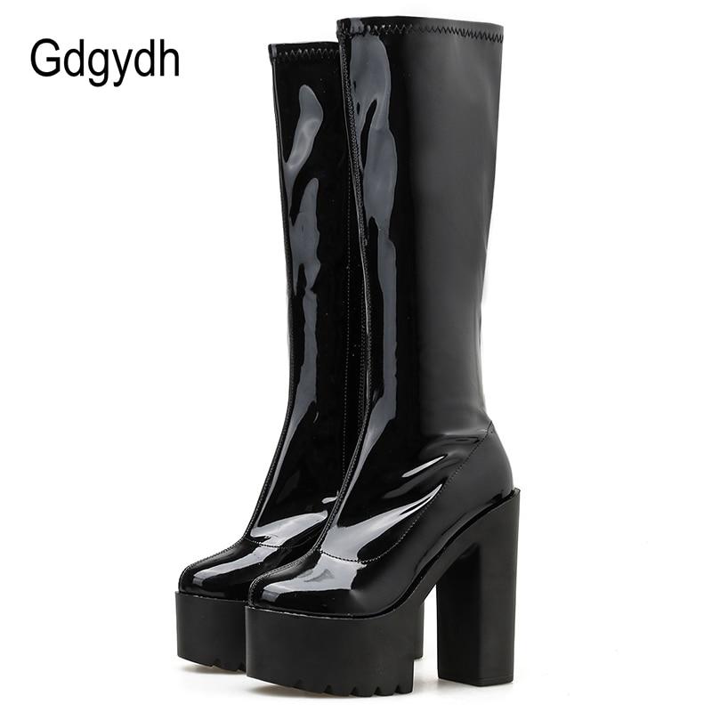 Gdgydh Autumn Winter Black Patent Leather Boots Women High Heel Platform Mid Calf Heel Boots For Women With Zipper Drop Shipping