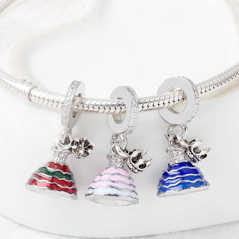 בסדר אמייל דיסני נסיכת שמלת תליון Pulsera DIY Fit מקורי פאן קסם צמיד נשים חצאית חרוזים עבור תכשיטי ביצוע מתנות