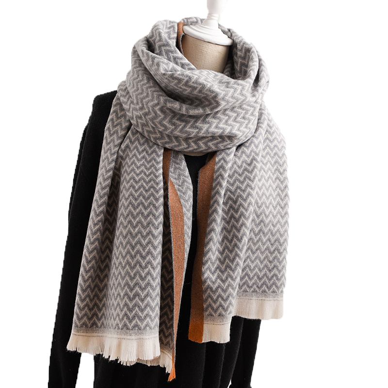 Fashion ZIG ZAG Plaid Thinker Warm Wool Cashmere Scarf Pashmina Tassels Women Soft Winter Men Scarf