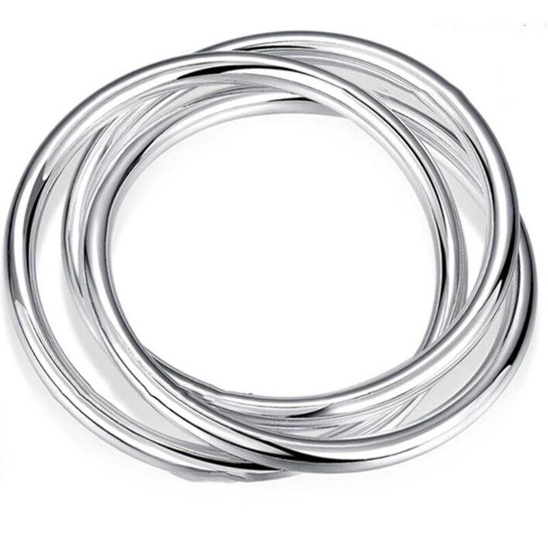 Fashion 925 Silver Bracelet Bangles Women Three Lines High Quality 925 Silver Bracelet Bangles Jewelry