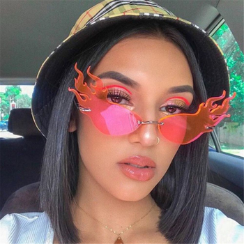 цена на Fashion Fire Flame Sunglasses Brand Design Women Cat Eye Sunglass Luxury Rimless Sun Glasses Eyewear UV400 Shades Oculos de sol