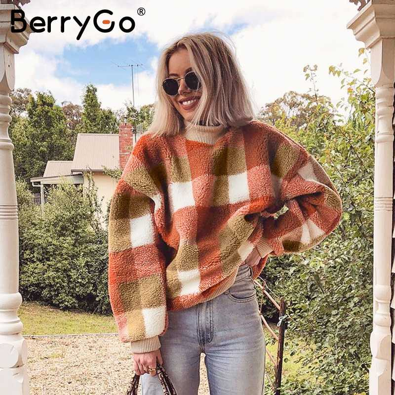BerryGo Vintage lambswool plaid hoodies women sweatshirt O neck loose pullover female sweatshirt Autumn winter ladies warm coats