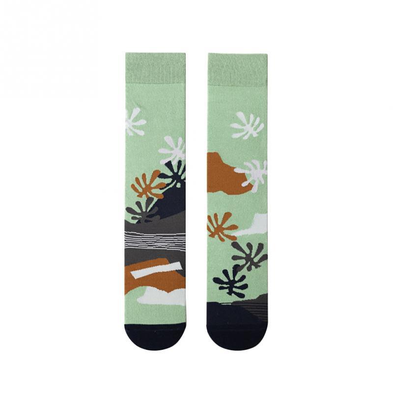 Knee High Sports Socks Spring Autumn Winter Warm Cotton Blend Women Socks Asymmetrical Pattern Over The Knee Sock