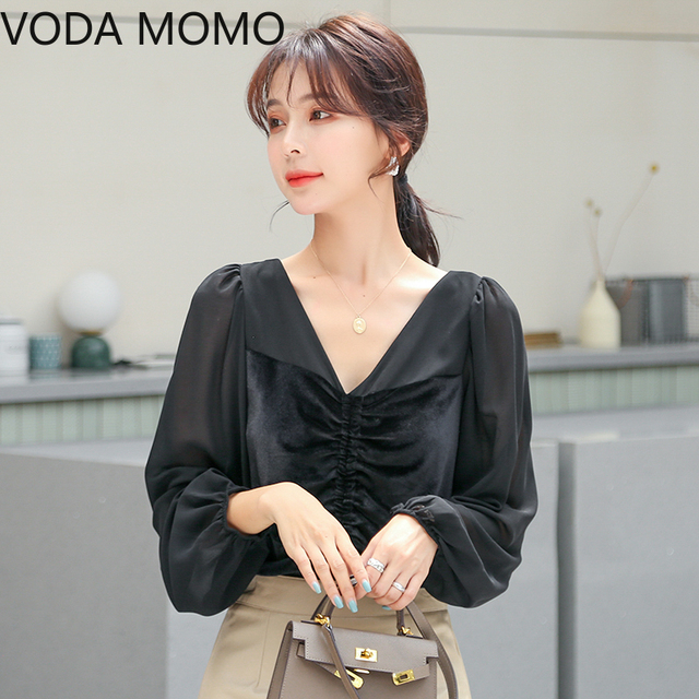 2021 spring velvet patchwork women's shirt blouse for women blusas womens tops and blouses chiffon shirts ladie's top plus size 5