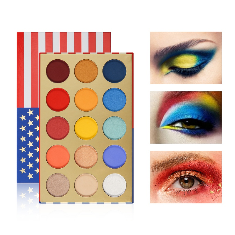 Pigment 15Colors National Flag Eyeshadow Palette Graffiti Mixed Color Waterproof Smudge-proof Colorfast Matte Shimmer Eye Shadow