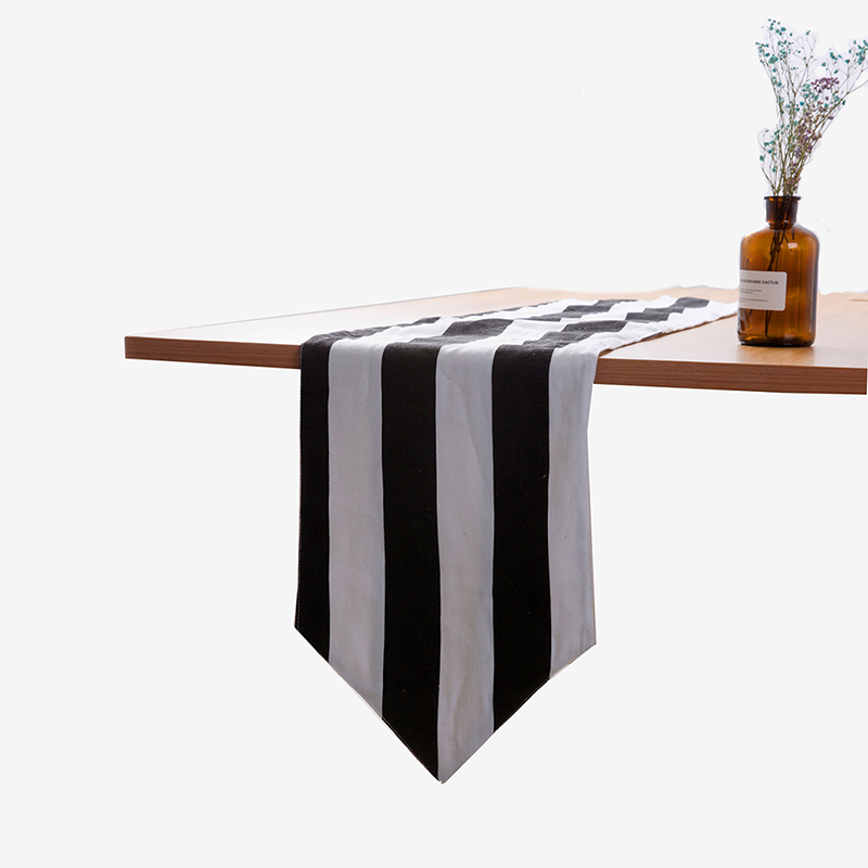Wedding Decoration Wedding Hall Runner Black And White Stripe Table Runner Family Hotel Dust Tablecloth Party Supplies|  - title=