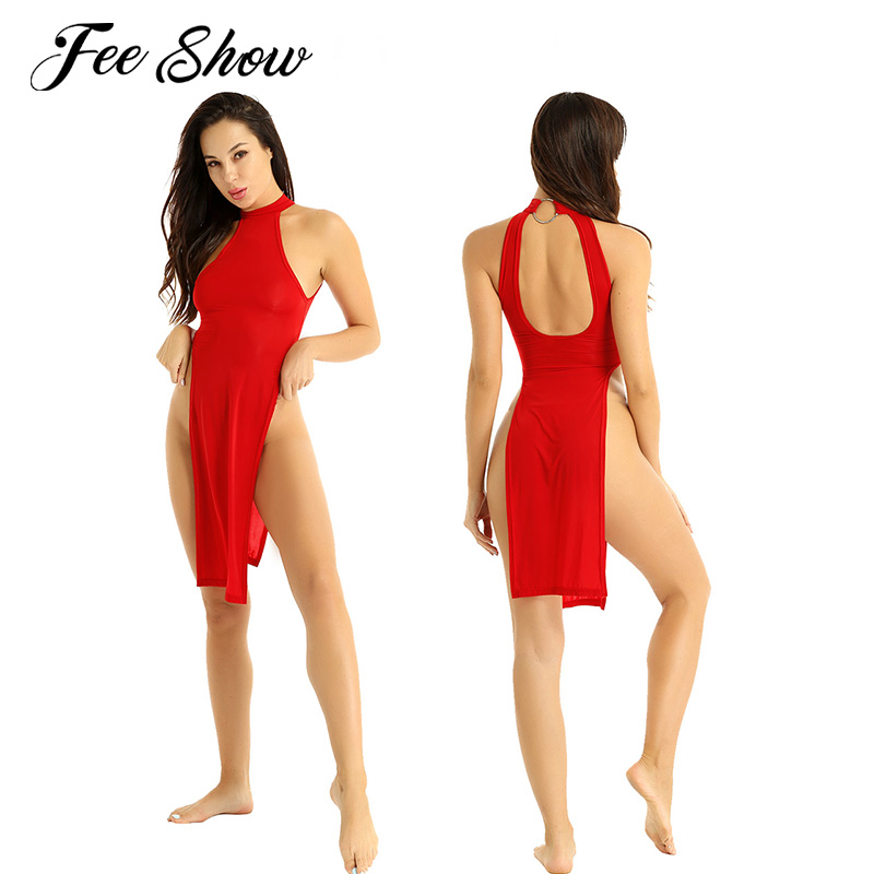 Women Ultra Thin Bodycon Dress High Slit Leg Cheongsam Party Nightwear Clubwear