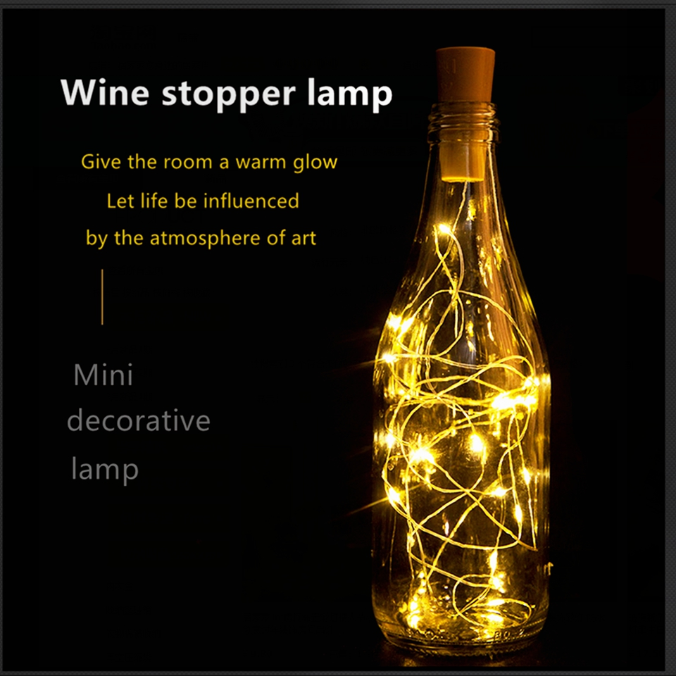 Wine Bottle Cork LED Fairy Lights Garland LR44 Battery For Holiday Christmas Party Indoor Outdoor Decoration String Lights