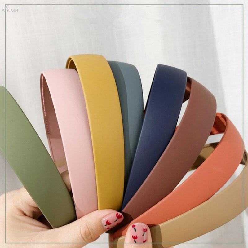 AOMU 1PC Korea Autumn Winter Scrub Acrylic Hairbands Colorful Morandi Wide Hair Bands For Women Hair Accessories