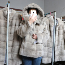 Coat Oversize Genuine-Fur-Jackets Real-Mink-Fur Winter Women Ladies Short Hood Natural
