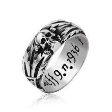 Размер США 6-13 серебряное кольцо для влюбленных из нержавеющей стали Ретро индивидуальное Винтажное кольцо с резным черепом для пары мужчин и женщин ювелирные изделия