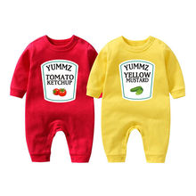 Ysculbutol yummz tomate ketchup gêmeos roupa do bebê mostarda mais cor do bebê bodysuit