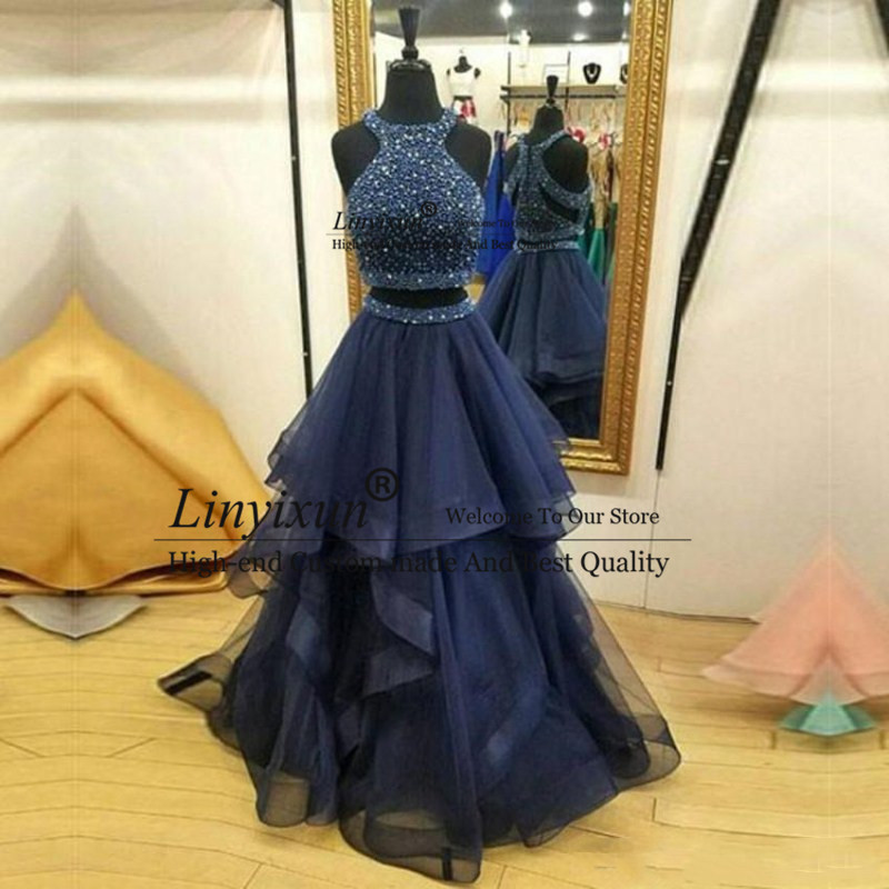 Hot Sale Charming Two Pieces   Prom     Dresses   Navy Blue Long Evening   Dresses   Sweep Train Ruffles Beaded Formal Evening Gowns