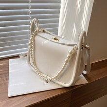 с доставкой Pearl design PU Leather Crossbody Bags for Women 2021 Summer Mini Shoulder Handbags Ladies Branded Luxury Purses