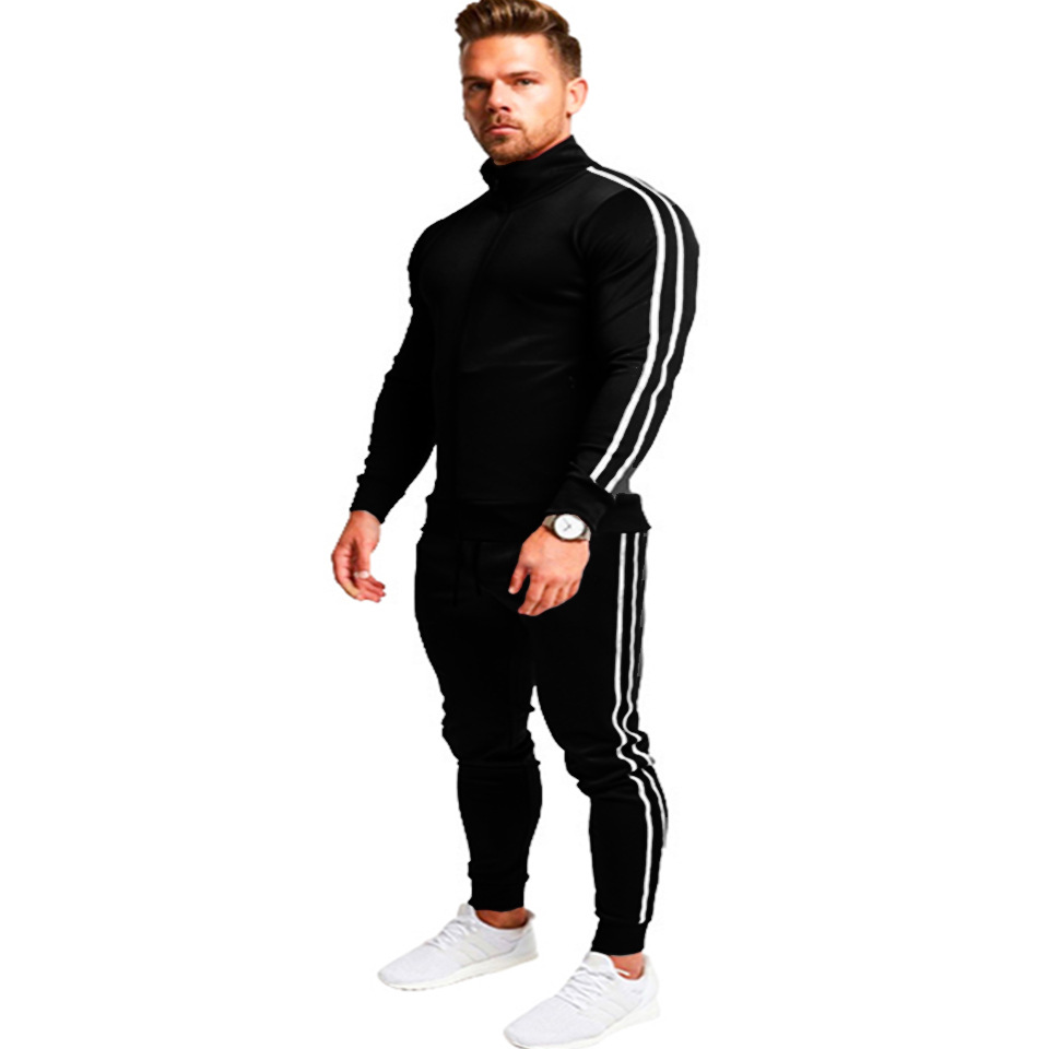 2019 Sports Set Stripes Slim Fit Zipper Two-Piece Set Men's Running Fitness Suit Solid Color Sports Clothing