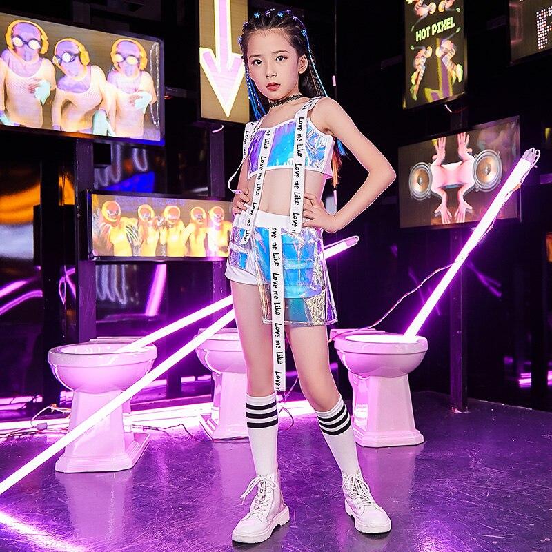 New Children Jazz Dance Costume Girls Hip Hop Suit Kids Modern/Street Dance Costume Children'S Day Catwalk Show Outfit DQL1775
