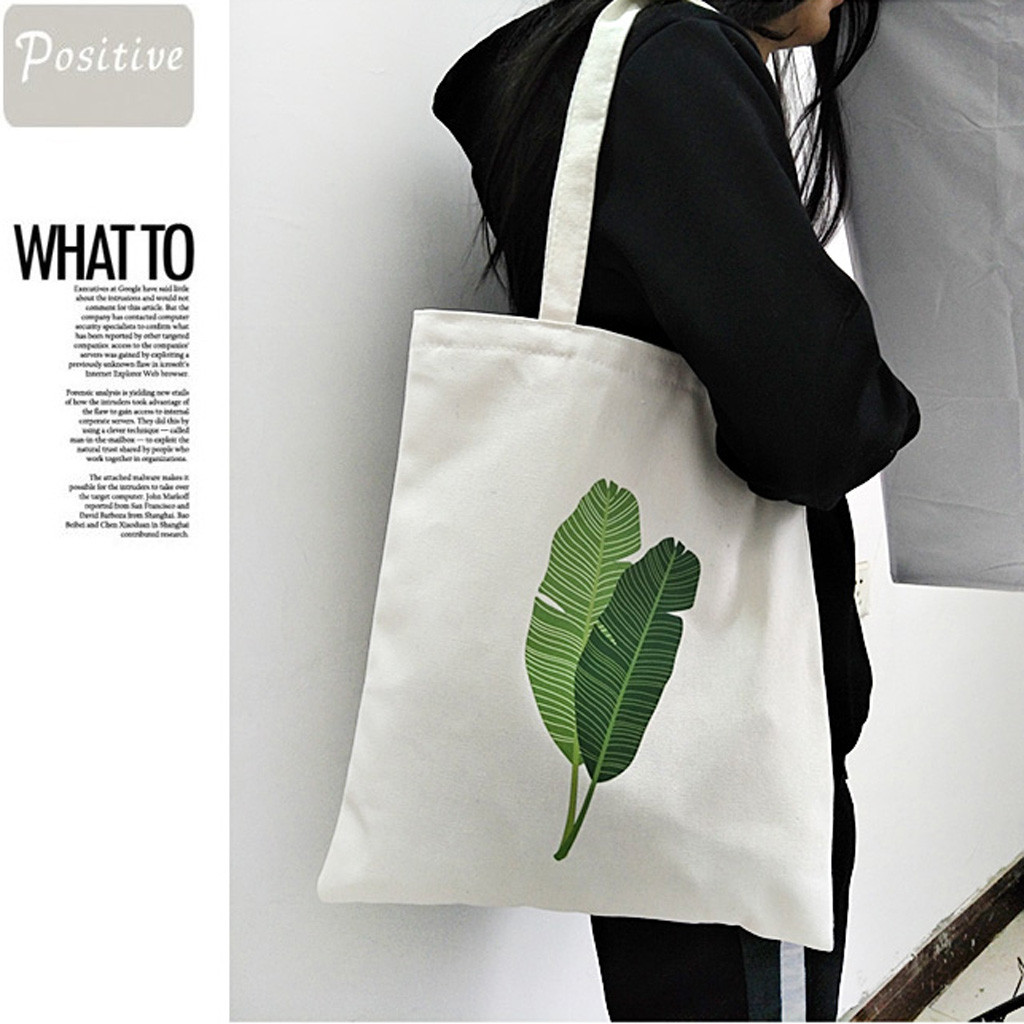 Fashion Women Canvas Printing Banana Leaf Shoulder Bags Handle Shopping Bags  Convenient Large-capacity Storage Bags Tote