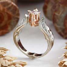 2019 Romantic Rose Gold Fashion CZ Zircon Rings Flower Shape Wedding Jewelry Double Color Ring for Women's Rings Fingers Gifts 2019 romantic rose gold fashion cz zircon rings flower shape wedding jewelry double color ring for women s rings fingers gifts