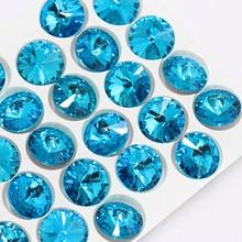 Cristaux ronds mélangés de Rose bleue K9, pierres de fantaisie appliquées pour l'artisanat, colle, décoration de vêtements de noël