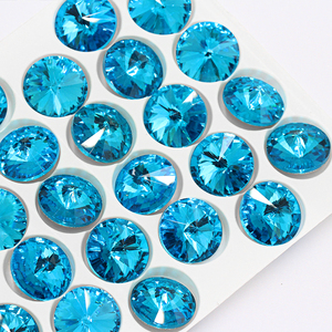 High quality Rivoli 12mm crystal glass rose rhinestone stones wedding dress rhinestone accessories appliques for jewelry making