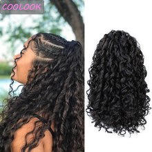 Coletero largo con Clip para mujer negra, 14 pulgadas, rizado, cordón, Coleta, extensiones de cabello sintético