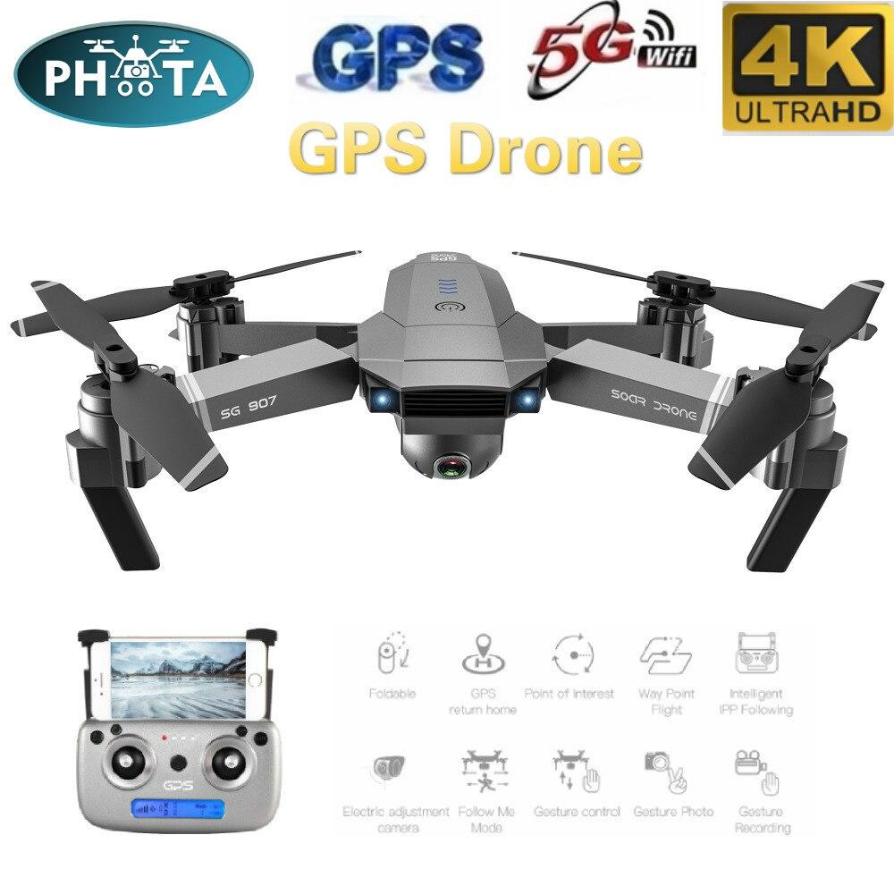 SG907 50X зум Дрон с GPS 4K HD Двойная камера широкоугольная анти встряхивание 5G wifi FPV RC Квадрокоптер складные Профессиональные с GPS слежения за мной