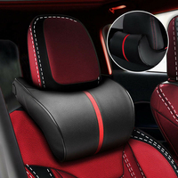 Car Headrest Neck Pillow PU Leather Adjustable Auto Neck Protection Rest Pillow Travel Neck Cushion Support Holder Seat Pillow