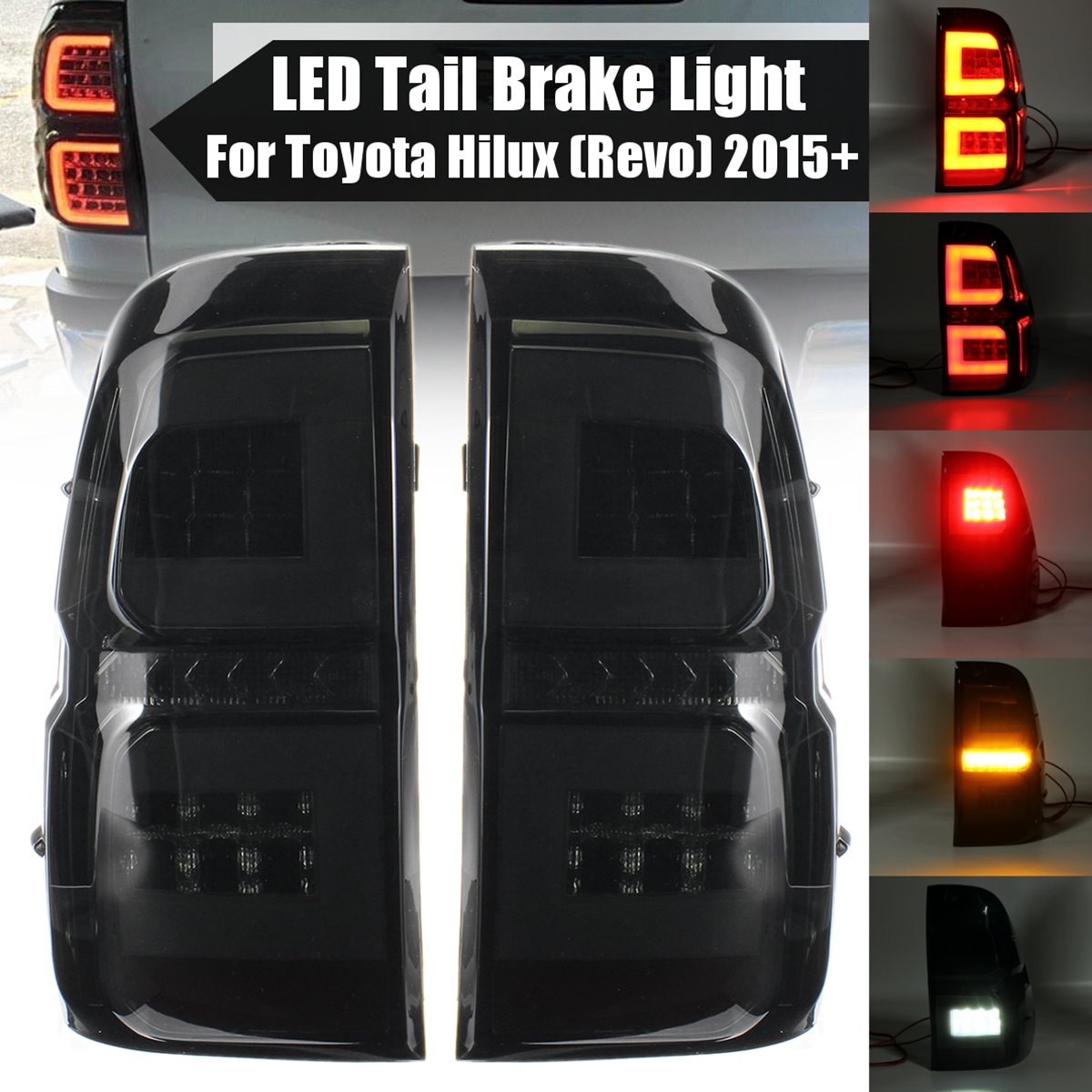 Fit For Toyota Hilux SR5 LED Tail Lamp Lights Smoke Black Lexus Style 2015