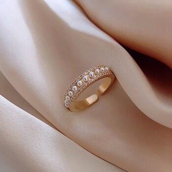 MENGJIQIAO 2020 nuevo circón delicado elegante perla anillos abiertos ajustables para mujeres estudiantes Micro pavé Femme dedo anillo de joyería