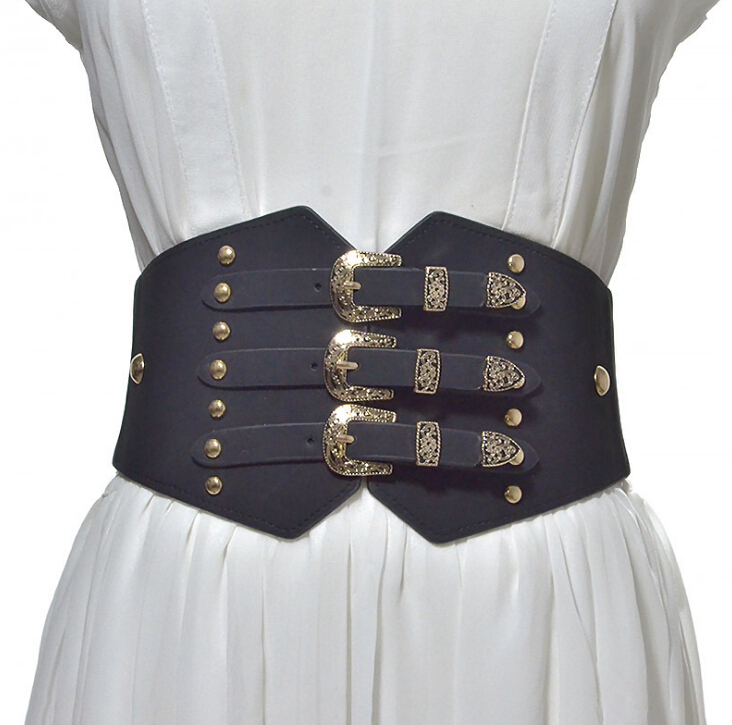Women's Runway Fashion PU Leather Elastic Cummerbunds Female Dress Corsets Waistband Belts Decoration Wide Belt R1034