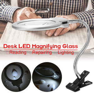 Illuminated Magnifier Magnifying Clip On Desktop Glass Reading Loupe Metal Hose LED Lighted Lamp Top Desk Magnifier With Clamp