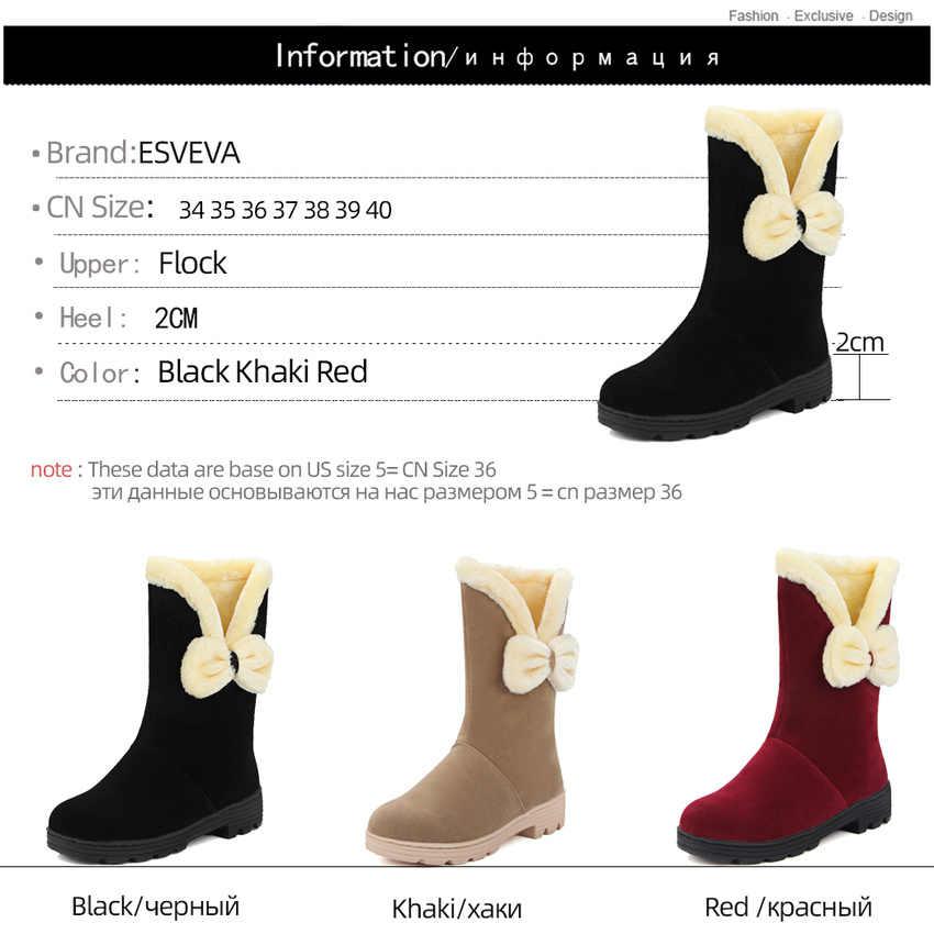 ESVEVA 2020 akın kelebek düğüm rahat kısa çizmeler yuvarlak ayak kayma orta buzağı çizmeler kış sıcak kürk kadın ayakkabı boyutu 34-40