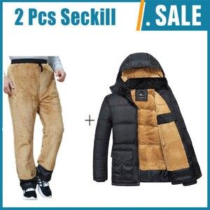 Image 1 - Winter Brand Men  Jacket Fur Hood With Cashmere Plus Size 5XL Winter Jacket High Quality Fashion Mens Coat Hot Sale Cotton suit