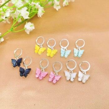 2020 Bohemian Women's Earrings Fashion Color Acrylic Butterfly Stud Earrings Animal Sweet Colorful Stud Earrings Girls Jewelry