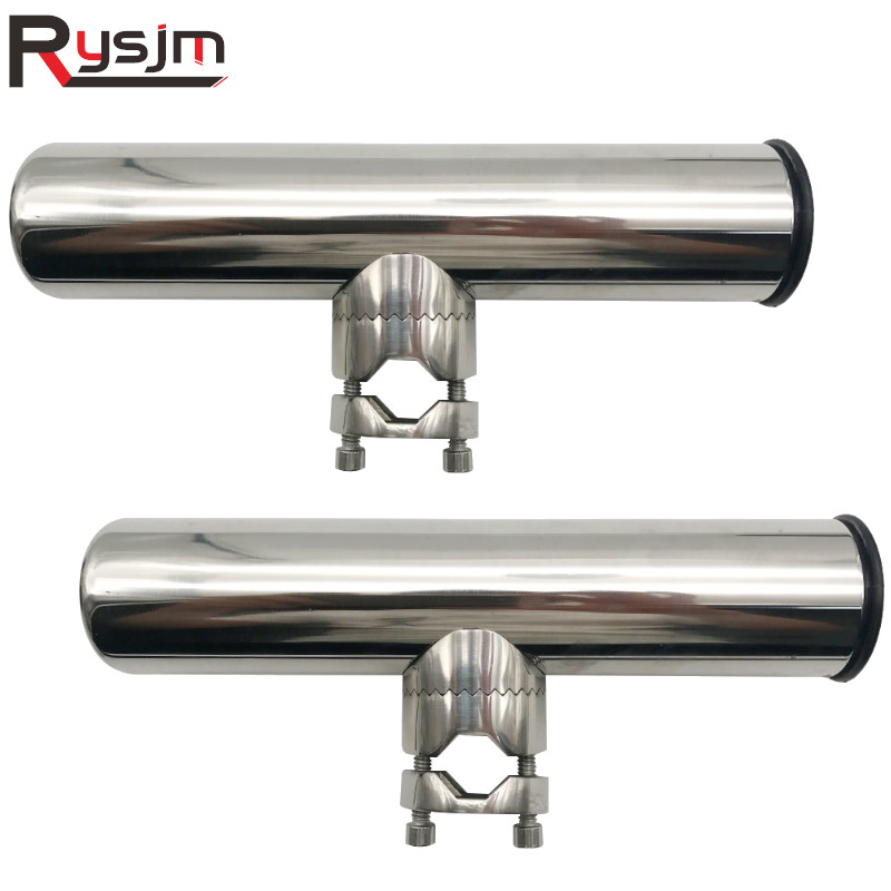 2pcs Stainless Steel Clamp On Fishing Rod Holder Adjustable Fit Rails 7/8'' To 1'' Tube For Sailboat Boat Marine Hardware